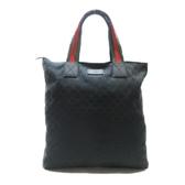 GUCCI 古馳 黑色帆布肩背袋 Web Shopping Tote Bag 131233【二手名牌BRAND OFF】