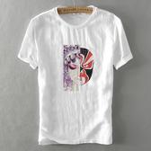 亞麻T恤-臉譜印花中國風棉麻短袖男上衣73xf34【巴黎精品】