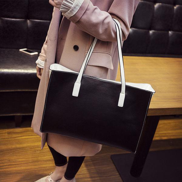 托特包單肩包女大包大容量托特包時尚女士手提包撞色女包 【好康八八折】