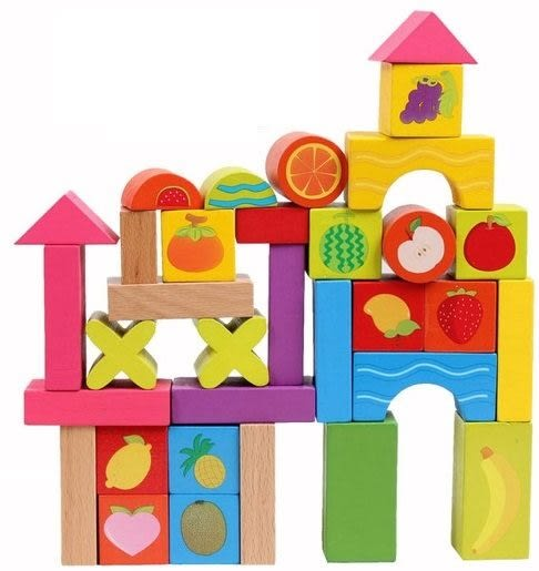 *粉粉寶貝玩具*歡樂水果積木 兒童玩具 33pcs 積木玩具 禮盒 益智 優質原木 安全無毒環保漆