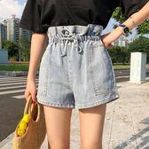 夏裝女裝韓版高腰花苞鬆緊腰淺藍色牛仔褲寬管褲短褲直筒褲潮 盯目家