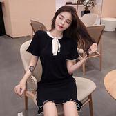 港味復古chic新款韓版女夏短袖裙子撞色邊溫柔氣質時尚針織 洋裝「輕時光」