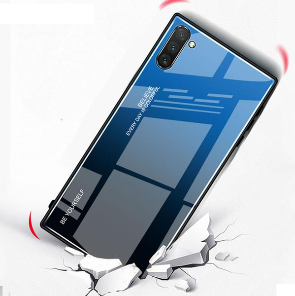 三星 Note10 漸變玻璃手機軟殼 三星Note10 Plus 男女手機保護套 三星Note10/Note10+ 鋼化玻璃手機殼