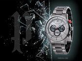 【時間道】POLICE 時尚經典三眼計時腕錶/黑圈鐵灰鋼帶(15001JSU-13M)免運費