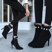 細跟靴秋冬新款珍珠蕾絲女靴2021細跟短靴裸靴英倫馬丁靴拉錬高跟鞋歐美 芊墨左岸
