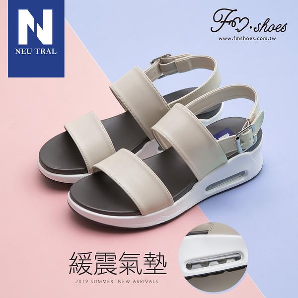 涼鞋.一字寬帶氣墊涼鞋-杏-FM時尚美鞋-NeuTral.Shiny