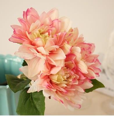 [協貿國際]裝飾花新娘手扎大麗花歐式高檔仿真花假花插花仿真植物婚慶花束1束入