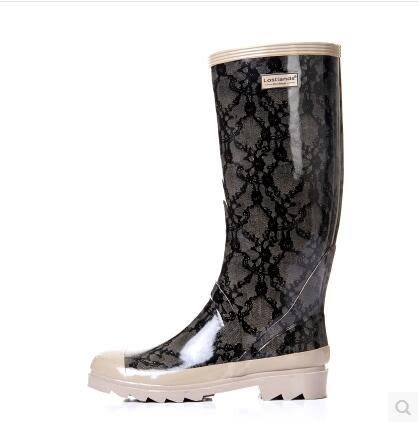 帥氣經典女式雨鞋 女士高筒雨靴時尚蕾絲雨鞋春款雨靴