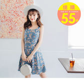 《DA5651》臧芮軒。領結綁帶滿版印花A字雪紡洋裝 OrangeBear