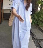 韓長裙棉麻裙寬鬆大碼韓國chic風單排扣系帶長款休閒寬鬆短袖連身裙襯衫裙S261B-662