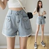 短褲牛仔短褲女潮ins大口袋夏裝高腰寬松顯瘦a字闊腿熱褲子NE245快時尚
