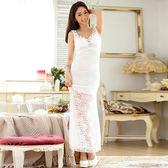 2017中大尺碼~蕾絲釘珠性感短袖洋裝(F~3XL)
