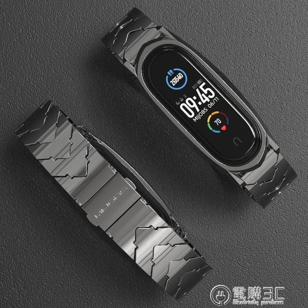 適用小米手環5/4/3腕帶錶帶NFC版通用金屬個性潮不銹鋼手錬 電購3C