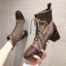 馬丁靴 女潮ins春秋2020年新款女鞋單靴英倫風中跟粗跟短靴加絨(聖誕新品)