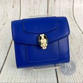 BRAND楓月 BVLGARI 寶格麗 287164 藍色 小牛皮 琺瑯蛇頭 撞色 暗扣 短夾 皮夾 錢包