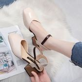 包頭涼鞋女夏2018新款百搭一字扣帶中跟方頭小清新高跟鞋粗跟涼鞋