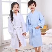 85折免運-春夏季男童睡袍全棉女孩吸水游泳浴衣兒童浴袍棉質華夫格小孩睡衣