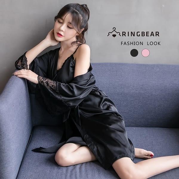 睡衣--舒適優雅蕾絲袖繫帶收腹修身桃心領絲質法式睡衣(黑.粉XL-4L)-U523眼圈熊中大尺碼