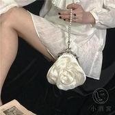 花朵包包女復古珍珠手拎晚宴包宴會包斜背手提包小包【小酒窩服飾】