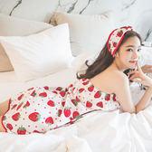 8折免運 夏季女士棉質浴巾睡衣洋裝裹胸睡袍套裝甜美可愛草莓抹胸睡裙浴袍
