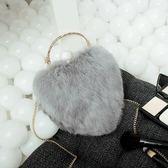 兔毛鏈條包-閃亮鑲鑽甜美心形女晚宴包5色73iy30[時尚巴黎]