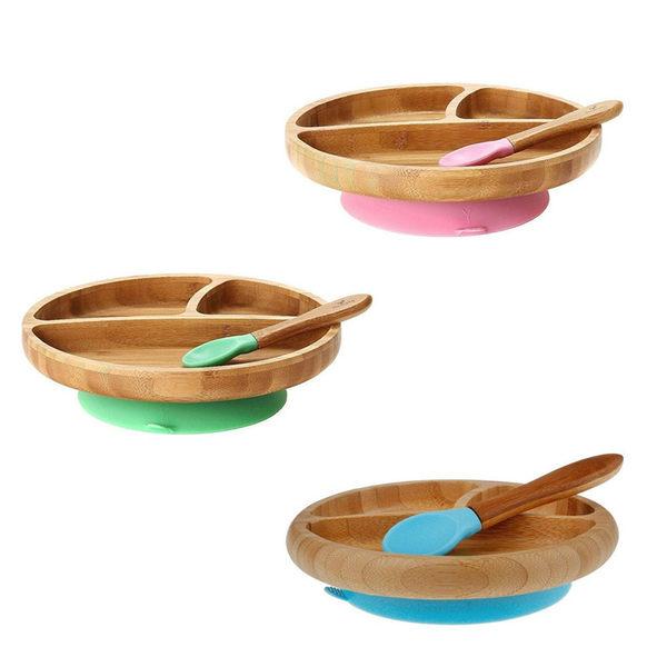 環保餐具 Avanchy 有機竹製吸盤餐盤+湯匙(餐具) 2件組 (小) 3-18個月 - 3色 BBPL / PBPL