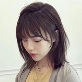 整頂假髮(中長髮)-真髮法式瀏海齊肩鎖骨直髮女假髮2色73vs77【巴黎精品】