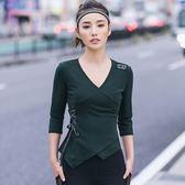 運動服-七分袖綠色V領修身綁帶女T恤73uk34【時尚巴黎】