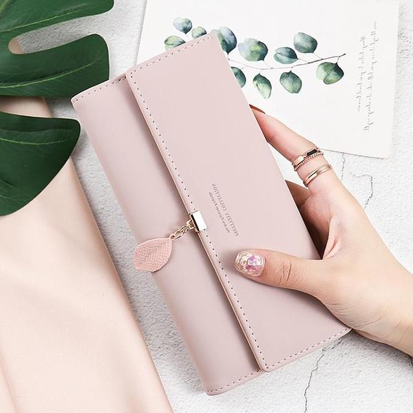 錢包女長款2021新款潮網紅葉子小眾設計女士摺疊錢包卡包手拿包女 青木鋪子