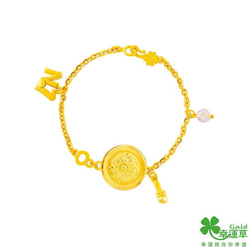 幸運草金飾 狀元鑼 黃金/水晶彌月手鍊-兒童版