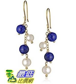 [美國直購] Alternating Gemstone and White Freshwater Cultured Pearl Drops on Gold over Silver Earrings 耳環