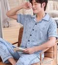 純棉男士睡衣夏季2021年新款短袖長褲薄款全棉夏家居服套裝 3C優購
