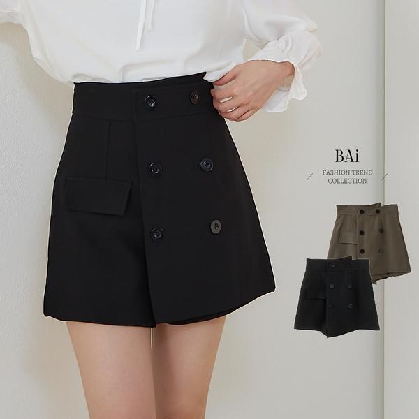 雙排釦斜片西裝感短褲M-L號-BAi白媽媽【310928】