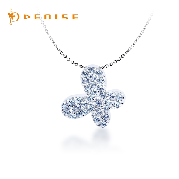特價 / 925純銀 蝶戀 水藍晶鑽墜 / 贈白鋼項鍊