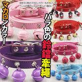 【培菓 寵物網】dyy 》馬卡龍色系亮眼鈴鐺項圈附牽繩款式顏色 出貨