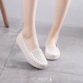 夏季舒適白色塑料涼鞋女護士鞋媽媽鞋軟底平底透氣工作鏤空洞洞鞋