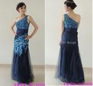 (45 Design) 藍色新娘單肩魚尾婚紗禮服伴娘服結婚晚裝敬酒服晚宴年會禮服