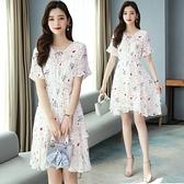 短袖洋裝輕熟風碎花雪紡連身裙女新款夏韓版中長款收腰顯瘦喇叭袖小清新裙子T105快時尚
