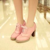 娃娃鞋包腳背繫鞋帶粗跟高跟鞋防水台圓頭單鞋8cm鞋白色潮 小宅女