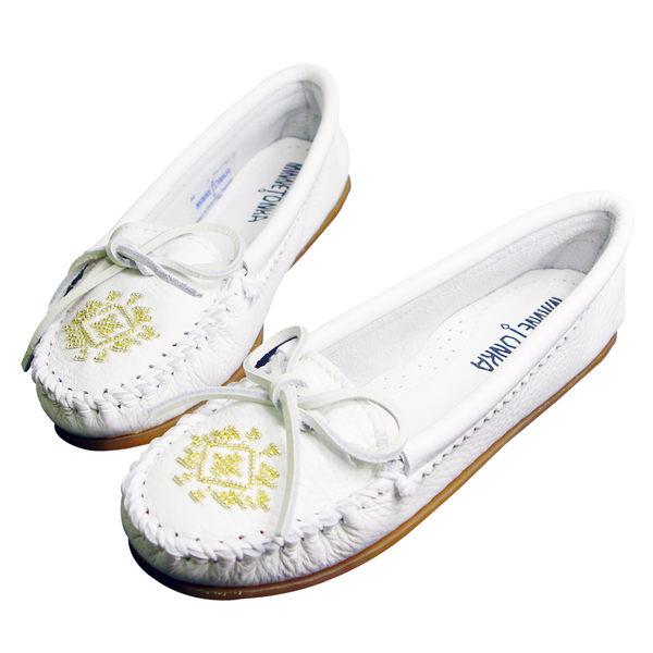 美國正品【MINNETONKA】 白色真皮蝴蝶結串珠莫卡辛女鞋#54【現貨在台 24小時寄出】