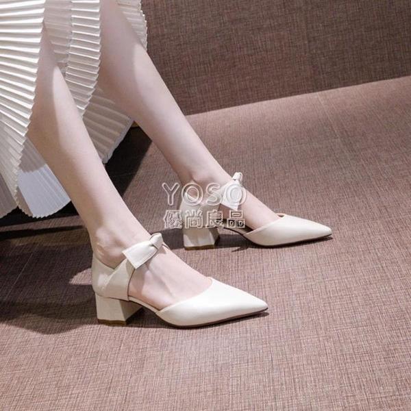 女鞋21新款潮尖頭中空蝴蝶結5cm高跟鞋女學生粗跟性感時尚單鞋 618大促銷