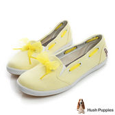 Hush Puppies 緞帶蝴蝶結咖啡紗甜心娃娃鞋-淺黃色
