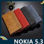 NOKIA 5.3 復古格紋保護套 磨砂皮質側翻皮套 隱形磁吸 支架 插卡 手機套 手機殼 諾基亞