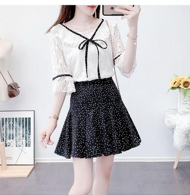 短袖套裝~2021夏季荷葉邊蕾絲衫波點百褶半身裙兩件套H311-E胖妞衣櫥
