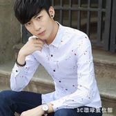 中大尺碼長袖襯衫 新款男士長袖襯衫韓版修身潮青年休閒男裝印花薄款襯衣LB1596【3C環球數位館】