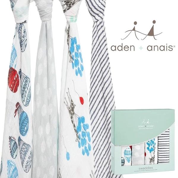 Aden+Anais 輕鬆抱寶寶包巾(四入裝) 氣球嘉年華款 2064[衛立兒生活館]