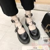 復古森女系圓頭厚底娃娃鞋單鞋學院風日系包頭小皮鞋【聚可愛】