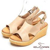 ★2018春夏新品★【CUMAR】舒適百搭-嚴選舒適真皮厚台涼鞋(米色)
