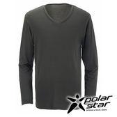 PolarStar 男 V領吸濕發熱保暖衣 『墨綠』 P15249