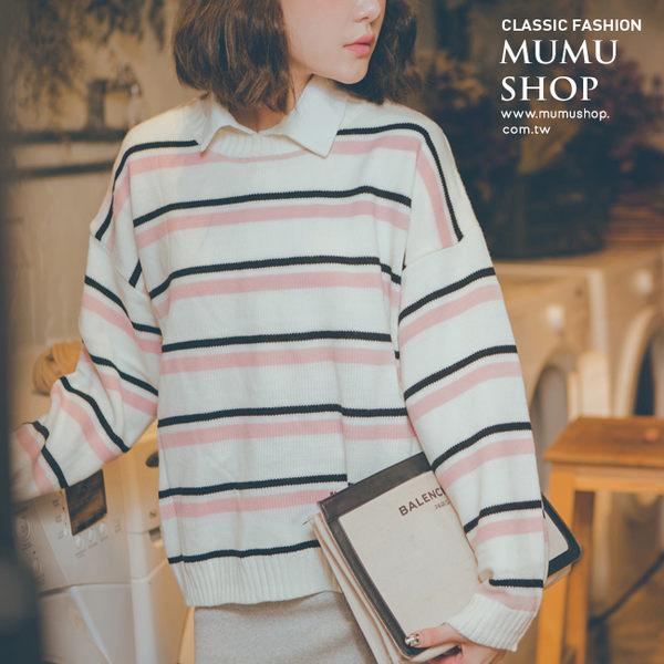 MUMU SHOP【N36520】韓劇同款拼色條紋圓領針織毛線上衣。兩色